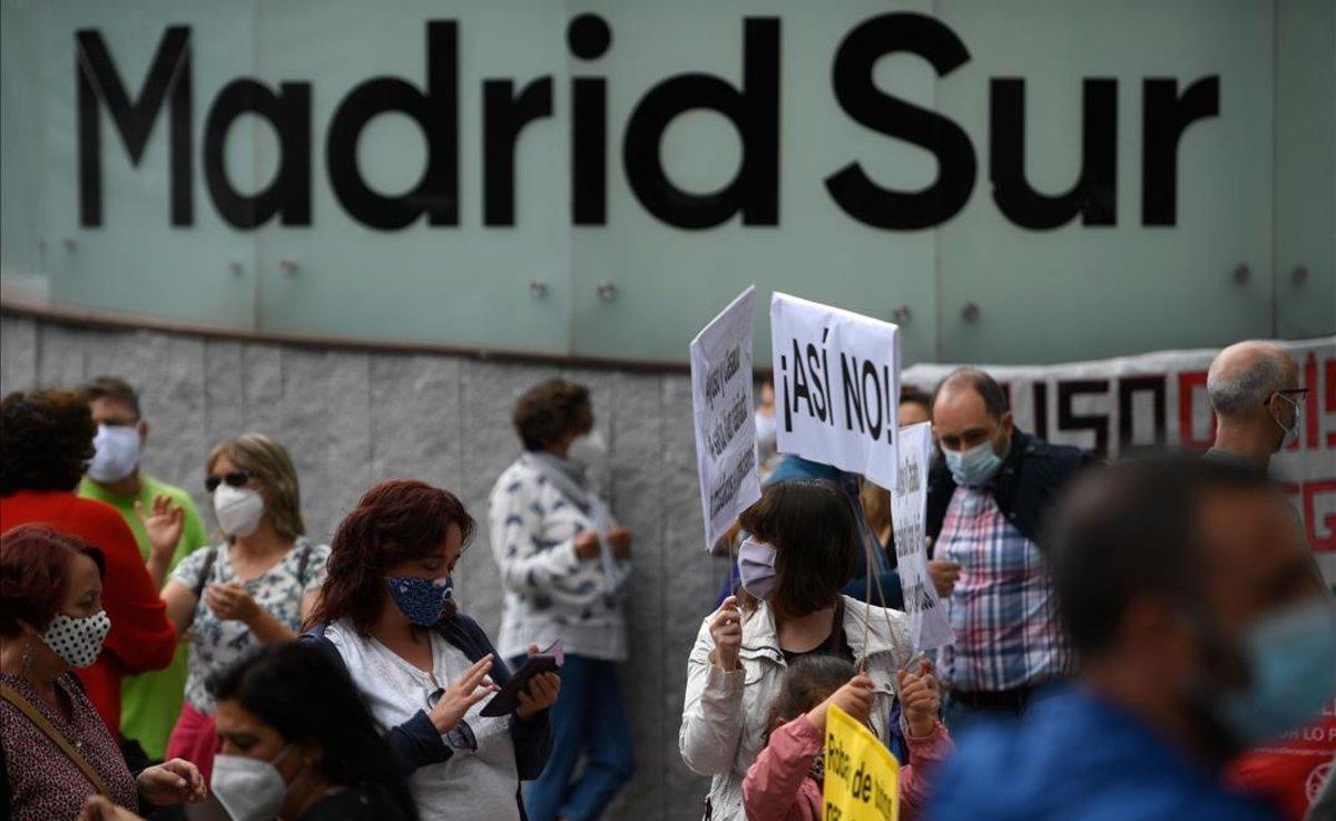 Una de las prostestas, junto a la terminal de autobuses de Madrid Sur.