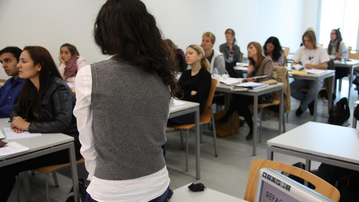 Alumnos de Erasmus en una clase en la Universitat Pompeu Fabra, antes de la pandemia.