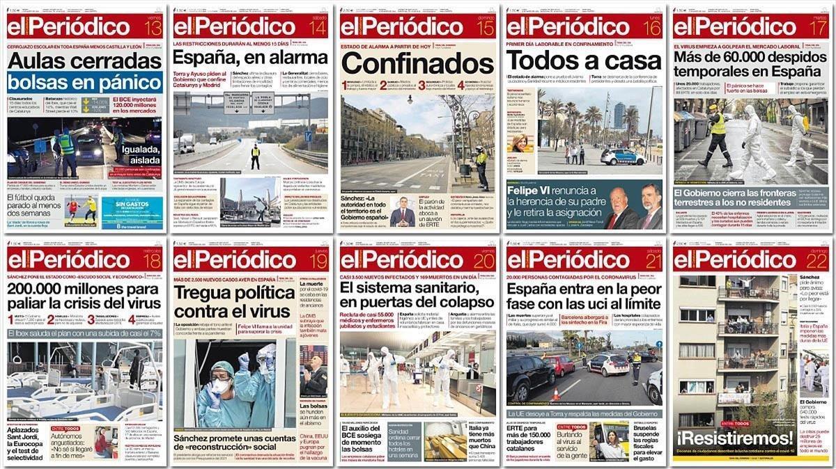 Portadas de El Periódico en los últimos días de pandemia