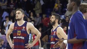 Satoransky y Navarro, durante un encuentro en el Palau Blaugrana