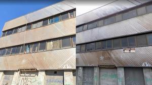 La fachada en 2019 con el cableado a la vista (izquierda) y en 2008, con el cartel de 'Se vende'.