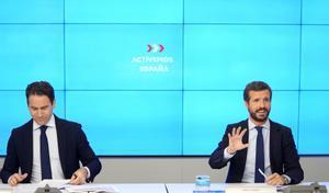 El presidente del PP, Pablo Casado, y su secretario general, Teodoro García Egea, en la junta directiva nacional del pasado 20 de agosto.