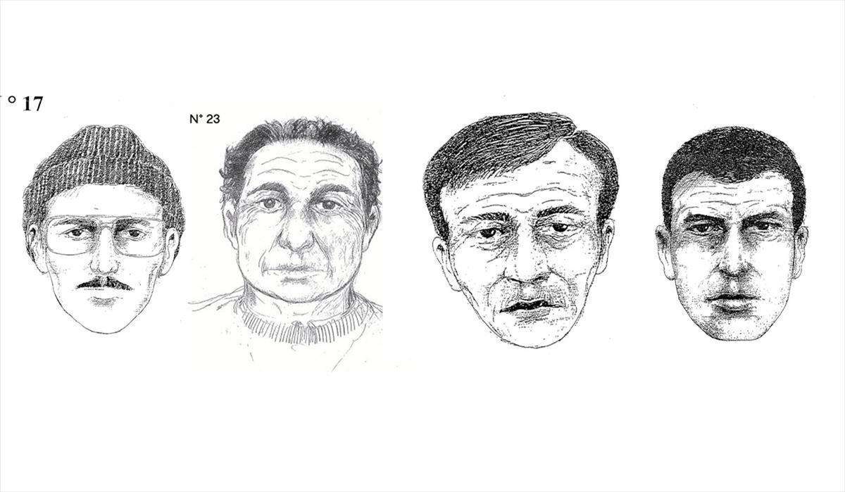 Retratos robot de los sospechosos de los crímenes de Brabante, en Bélgica.