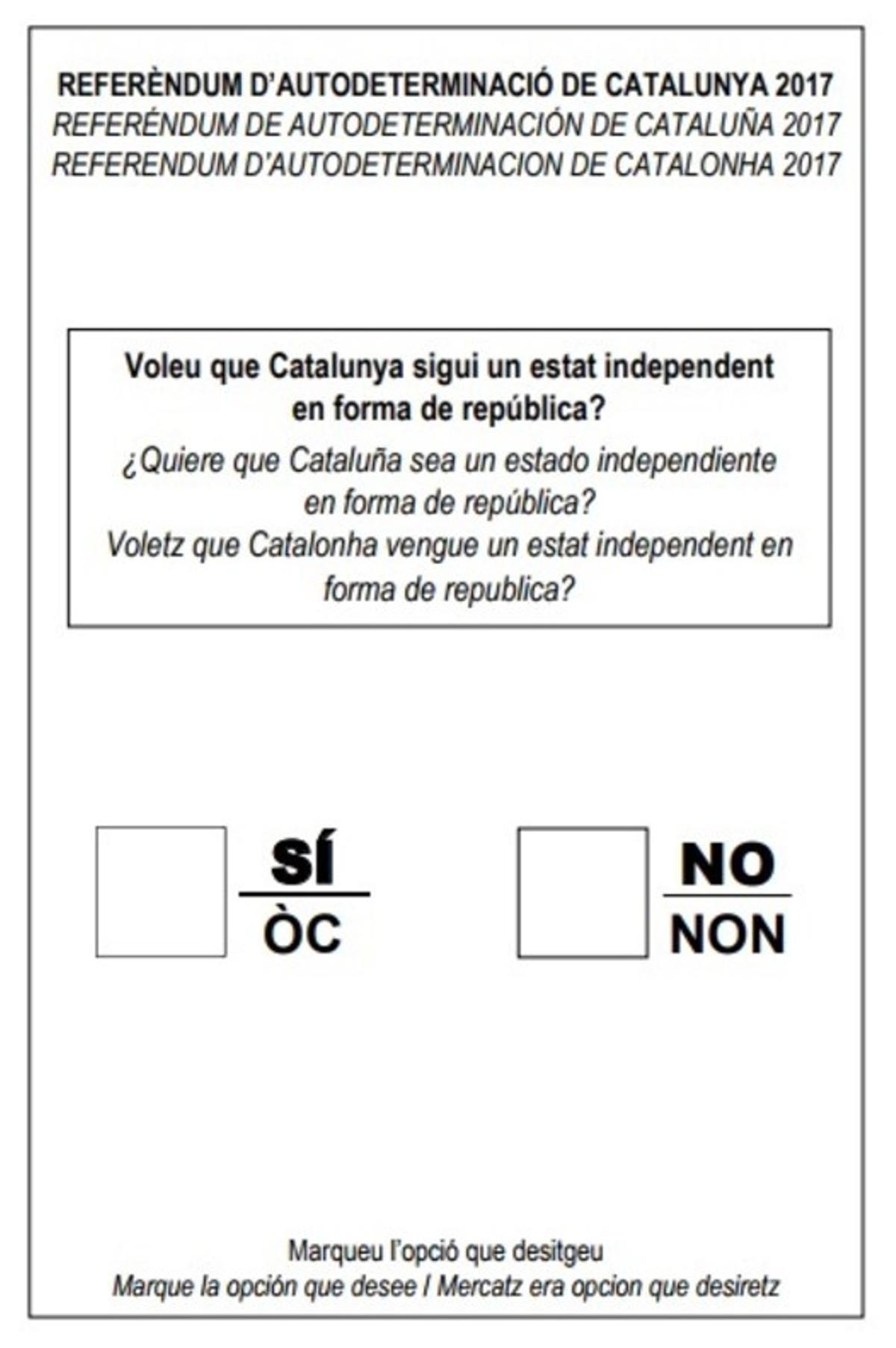 Papeleta del referéndum.