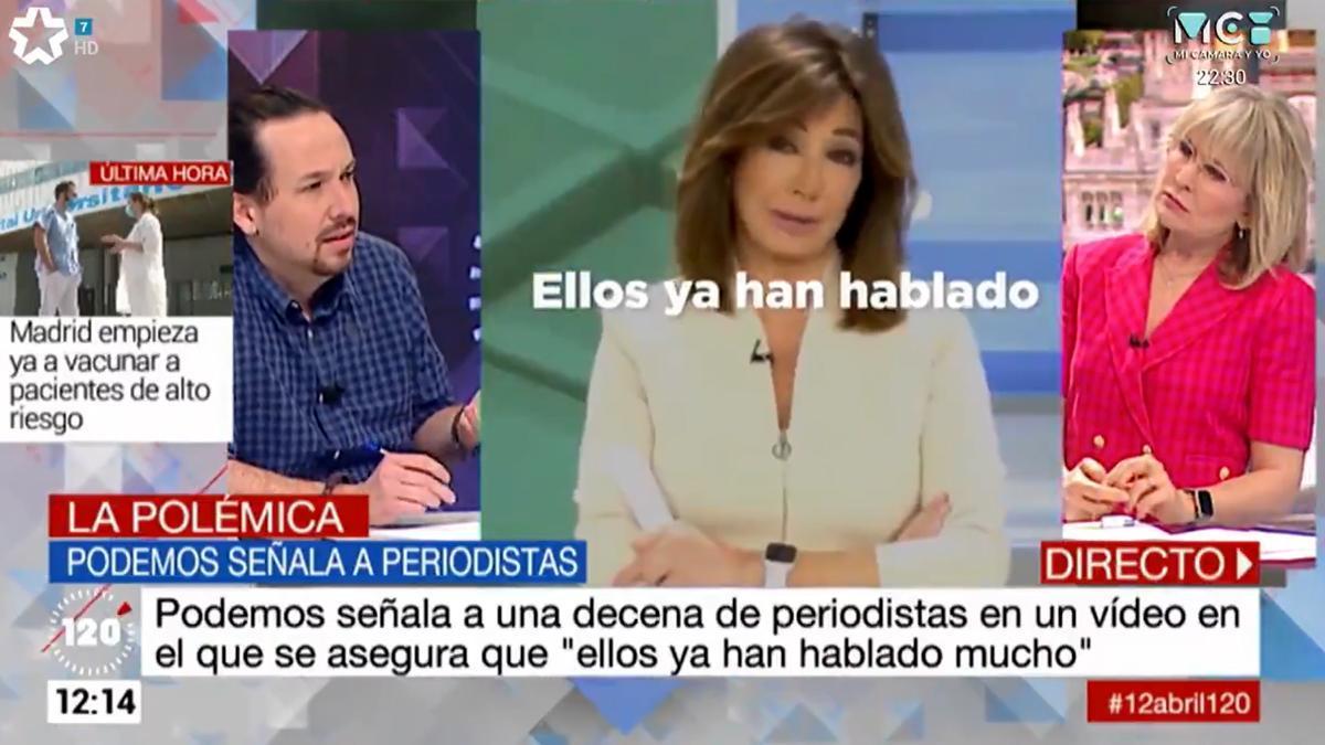 """Pablo Iglesias, a María Rey en Telemadrid: """"Hay muchos periodistas reprimidos en este país"""""""