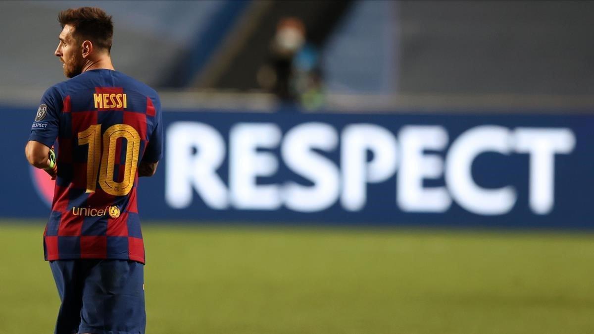Messi, en Lisboa, durante el último partido que jugó el Barça: ante el Bayern de Múnich en la Champions.