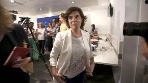 Soraya Sáenz de Santamaría en la sede del PP.
