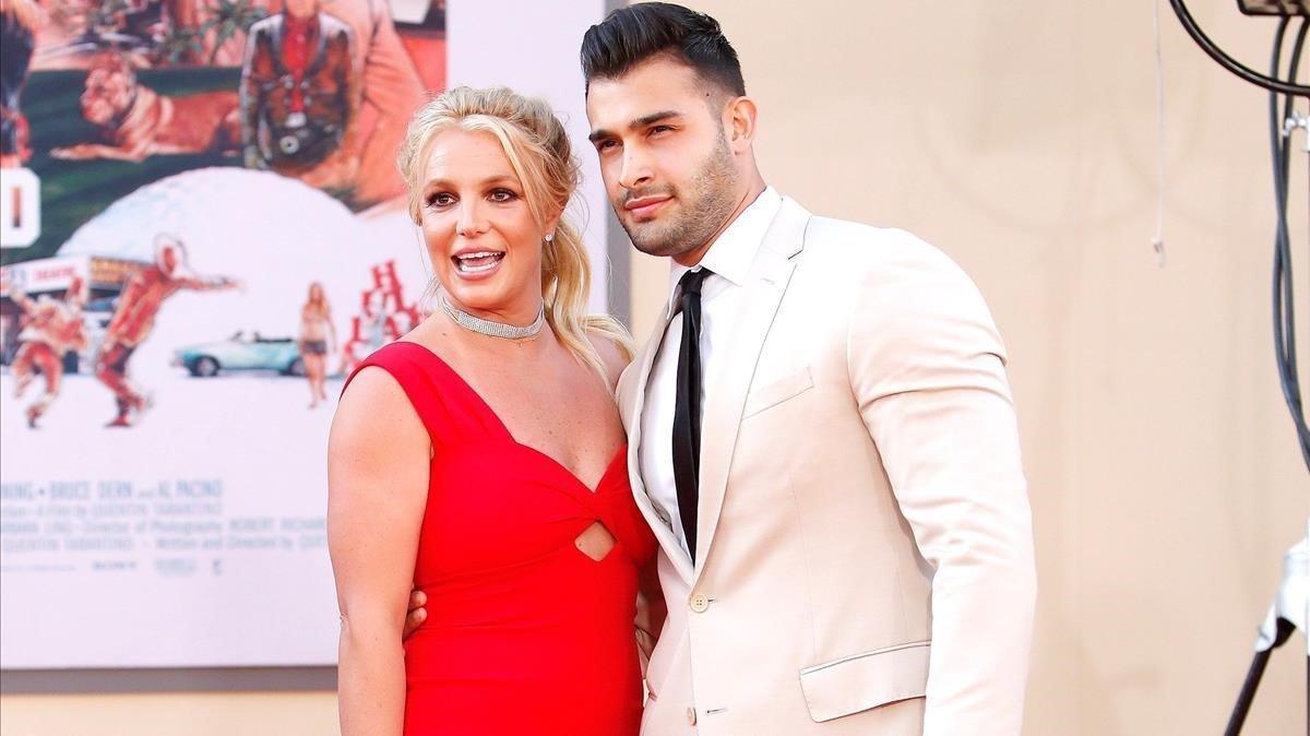 Britney Spears y Sam Asghari, en la presentación de 'Érase una vez... en Hollywood'.