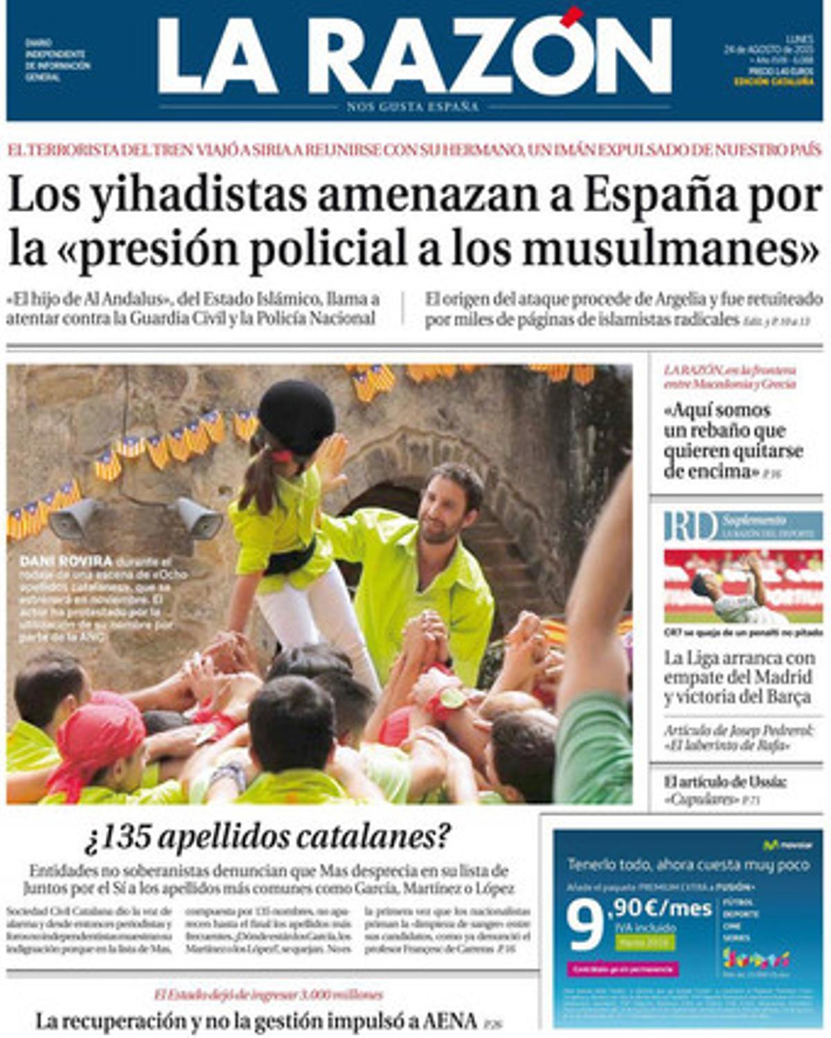 """'La Razón' denuncia una """"limpieza de sangre separatista"""" de Junts pel Sí"""