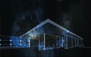 El pabellón Mies van der Rohe, con las luces deMario Pasqualotto.