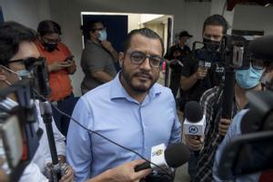 El precandidato a la presidencia de Nicaragua por la oposición Félix Maradiaga antes de ser detenido este martes.