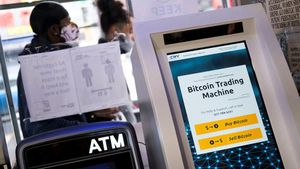 Una máquina de compraventa de bitcoins en una tienda de Nueva York.