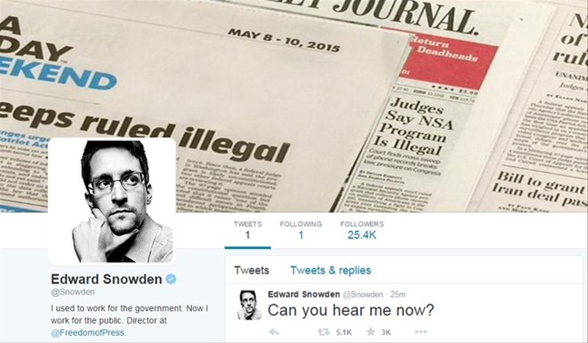 Página de Twitter del exanalista de la NSA Edward Snowden.