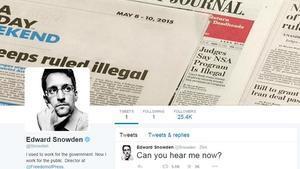 Pàgina de Twitter de l'exanalista de la NSA Edward Snowden.