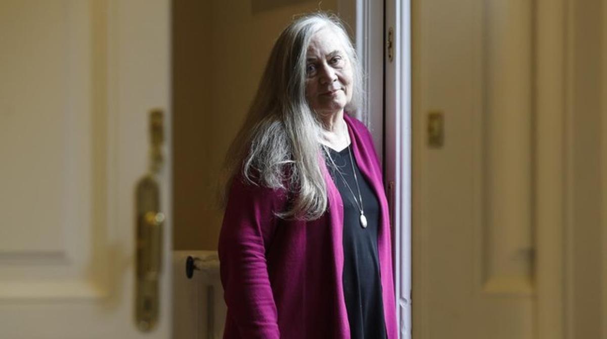 La escritora norteamericana Marilynne Robinson, en lasede de Galaxia Gutenberg en Barcelona.