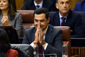 Juanma Moreno Bonilla, en el Parlamento andaluz.