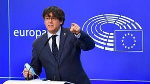 Carles Puigdemont en la rueda de prensa.