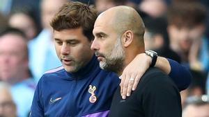 Pochettino y Guardiola, en su último enfrentamiento con el Tottenham y el City.