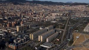 El barrio de La Mina desde el aire