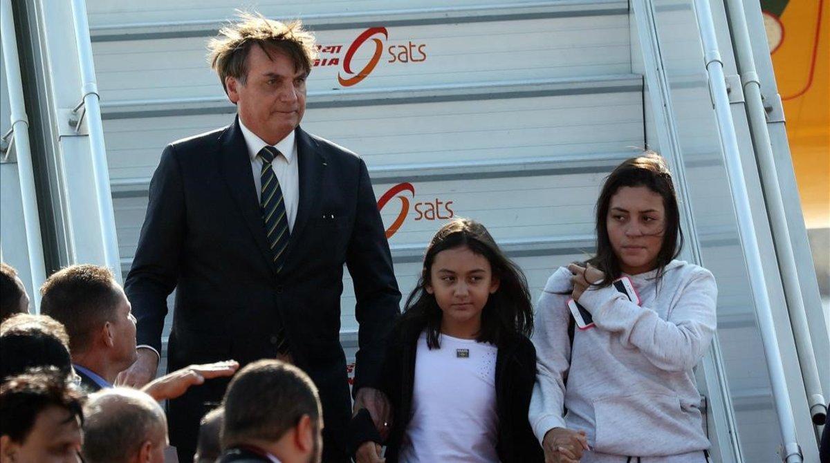 Jair Bolsonaro a su llegada a la India.