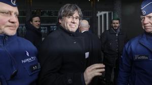 Carles Puigdemont llega a una audiencia en el Palacio de Justicia en Bélgica.
