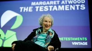 Margaret Atwood, el pasado lunes en Londres, en la presentación de 'Los testamentos'.