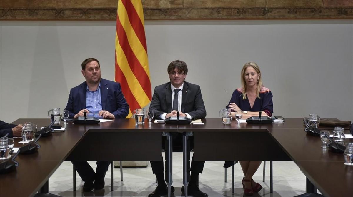 Junqueras, Puigdemont y Munté, esta semana en el Palau de la Generalitat.