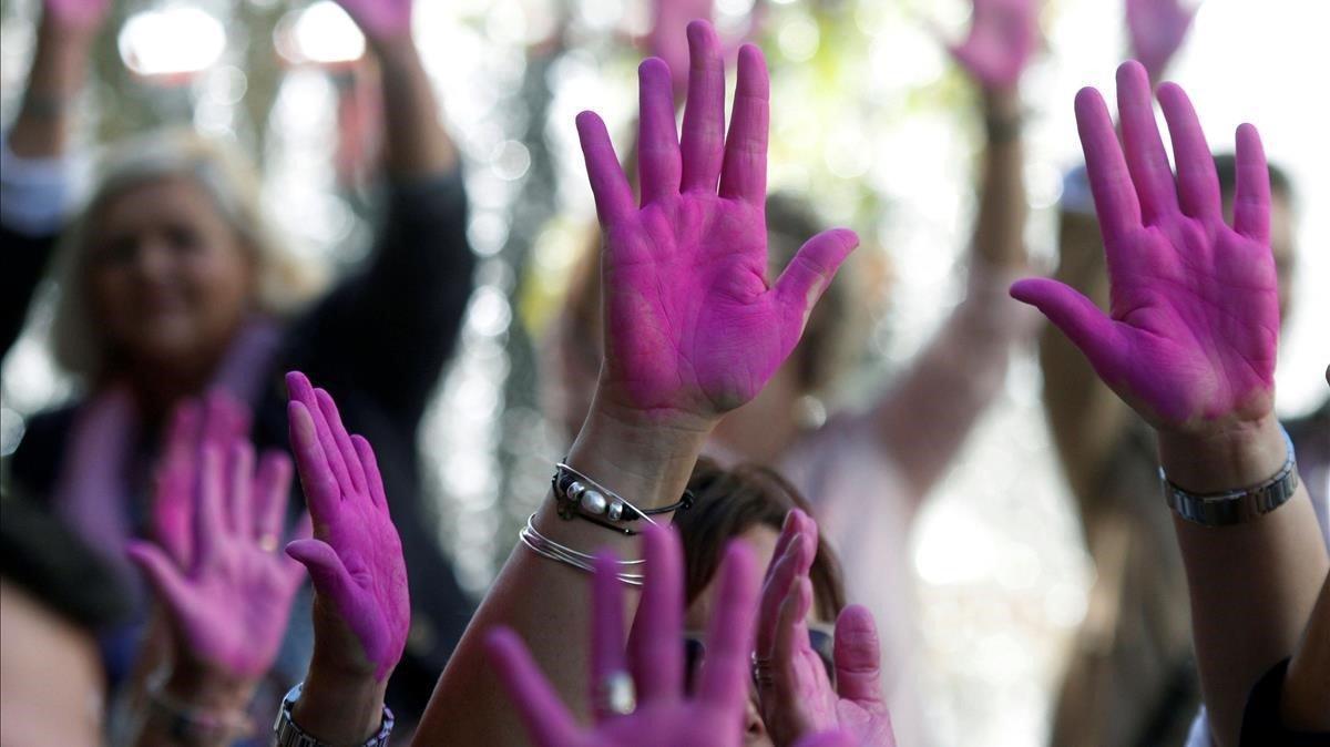 Acto por el Día Mundial del Cáncer de Mama en Córdoba (Andalucía) el pasado octubre.