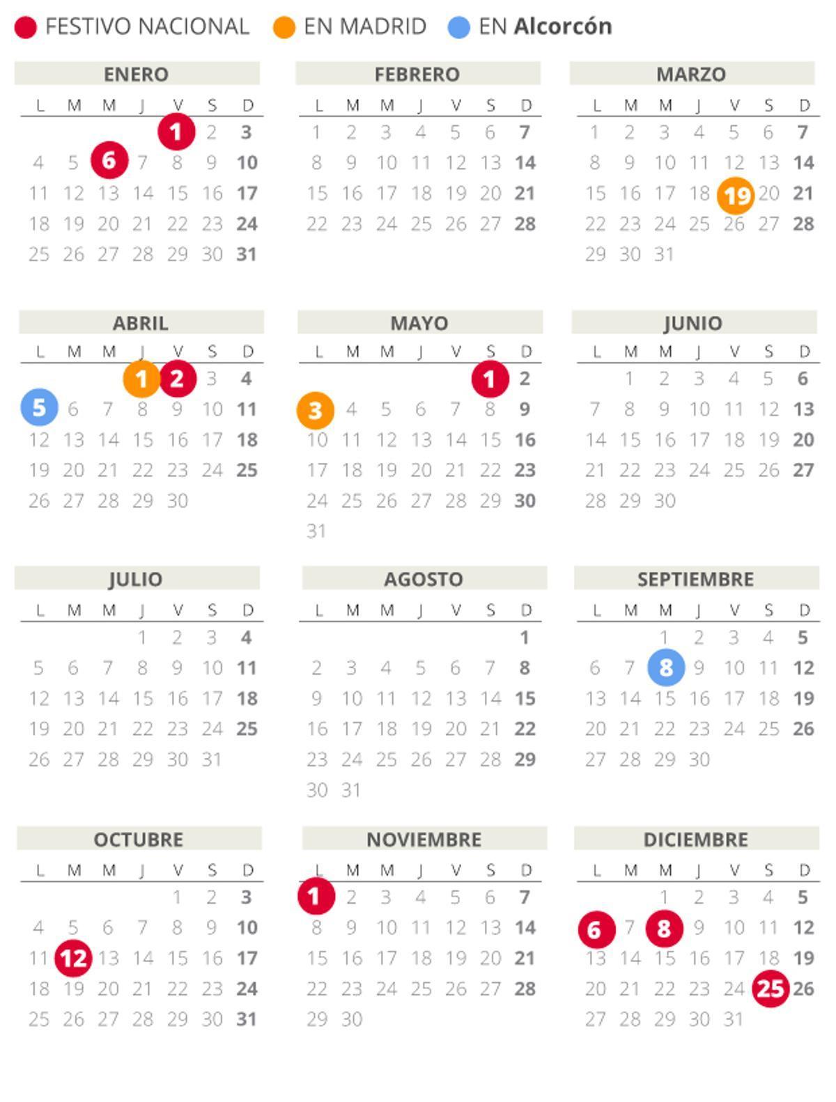 Calendario laboral de Alcorcón del 2021.