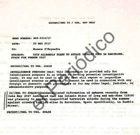 L'original en anglès de l'alerta sobre un atemptat a la Rambla remès als Mossos el 25 de maig del 2017