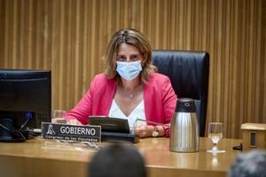 La vicepresidenta tercera, Teresa Ribera, en la Comisión de Transición Ecológica del Congreso