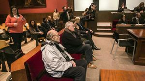 Fèlix Millet, Jordi Montull, Gemma Montull y Daniel Osácar,en la Audiencia de Barcelona, en febrero del 2018.