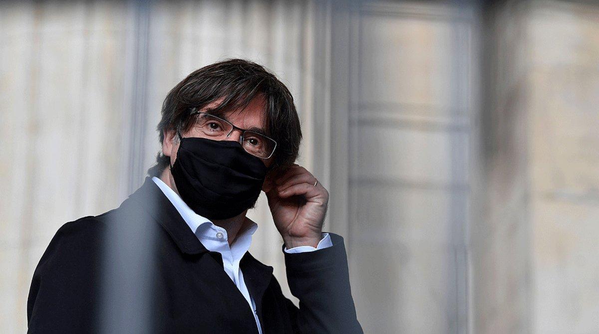 Puigdemont, en eljuzgado de Bruselas donde se celebra una audiencia sobre una nueva orden de detención europea, el 23 de junio.