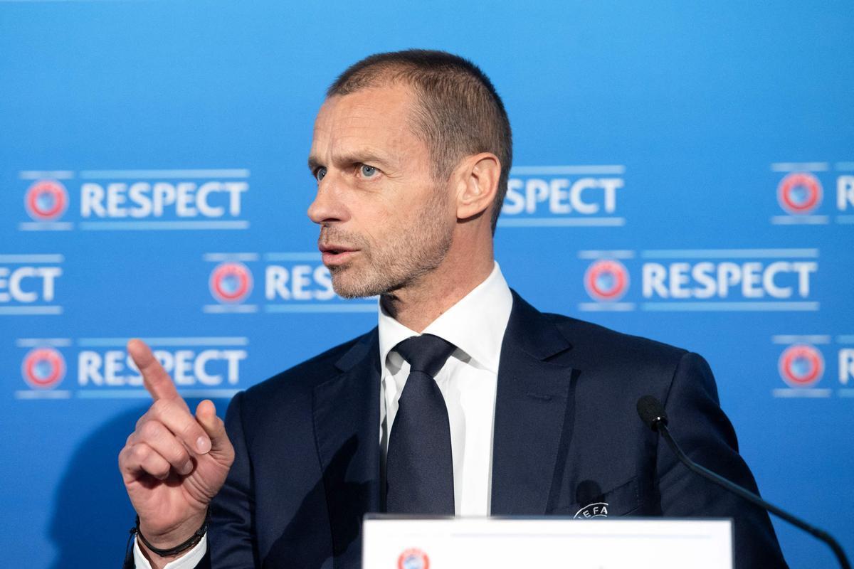 Ceferin, el presidente de la UEFA, en una conferencia de prensa.