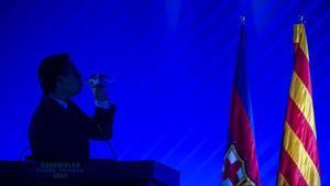 Bartomeu, en la última asamblea de compromisarios del Barça.