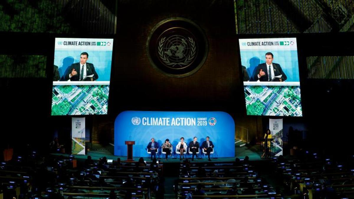 El presidente del Gobierno, Pedro Sánchez, durante su intervención en el panel 'Climate Action', en el marco de la apertura del 74º periodo de sesiones de la Asamblea General de Naciones Unidas, el 23 de septiembre de 2019.