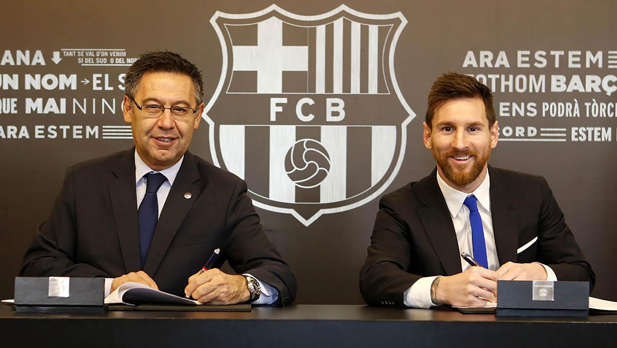 El argentino Leo Messi ha firmado un nuevo contrato con el Barcelona hasta junio de 2021 con una clásula de rescisión de 700 millones de euros, según ha anunciado el club.