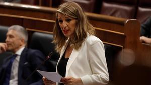 La ministra de Trabajo, Yolanda Díaz, durante su intervención estar mañana.
