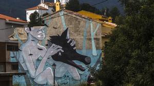 Grafitis contra un abocador