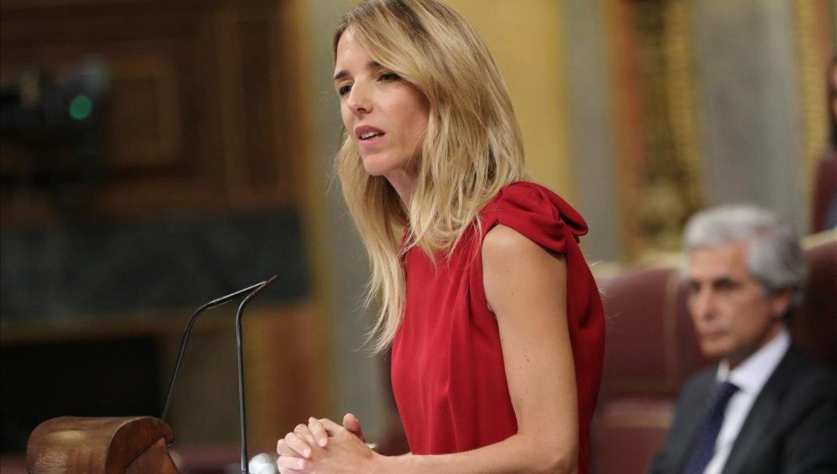 La portavoz del PP, Cayetana Álvarez de Toledo, en un debate en el Congreso el 29 de agosto.