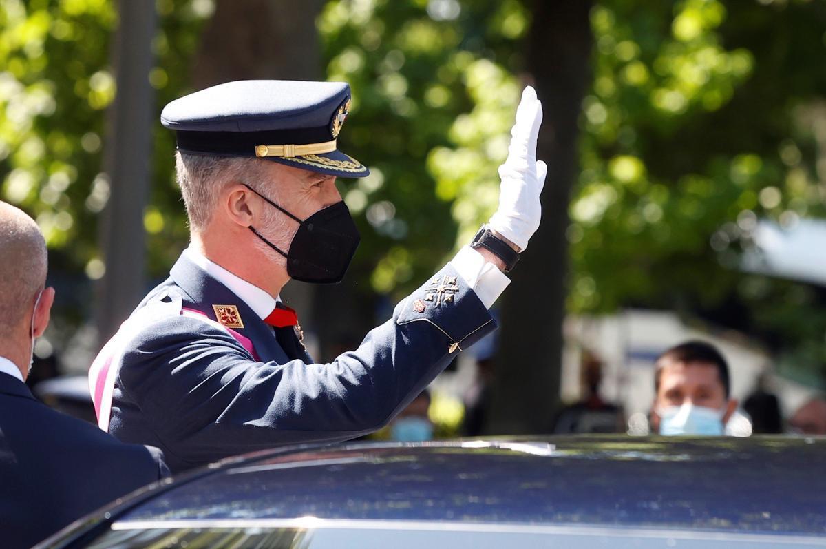 El rey Felipe VI, durante la celebración del Día de las Fuerzas Armadas.
