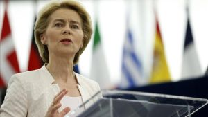 Ursula von der Leyen durante su discurso en el Parlamento Europeo, en Estrasburgo.