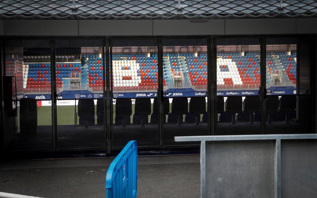 Vista sin público del estadio de Ipurua de Eibar, donde se disputó el último partido de La Liga.
