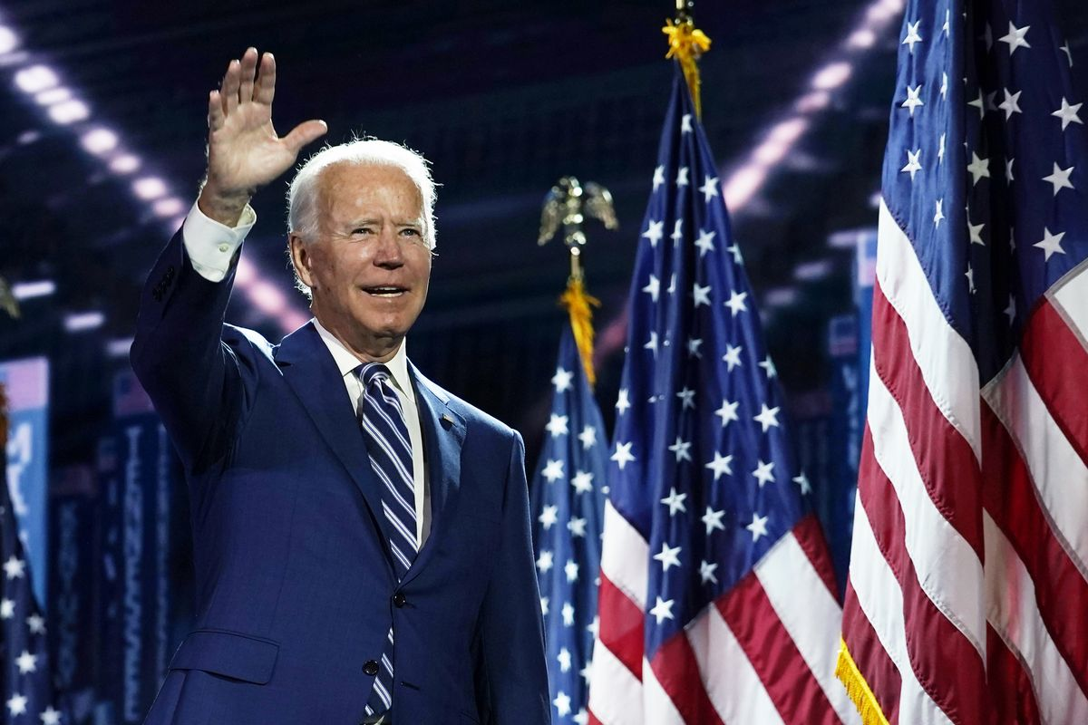 Joa Biden, en la convención del Partido Demócrata, celebrada en agosto en el Chase Center in Wilmington, tras ser nominado candidato a la presidencia de EEUU.