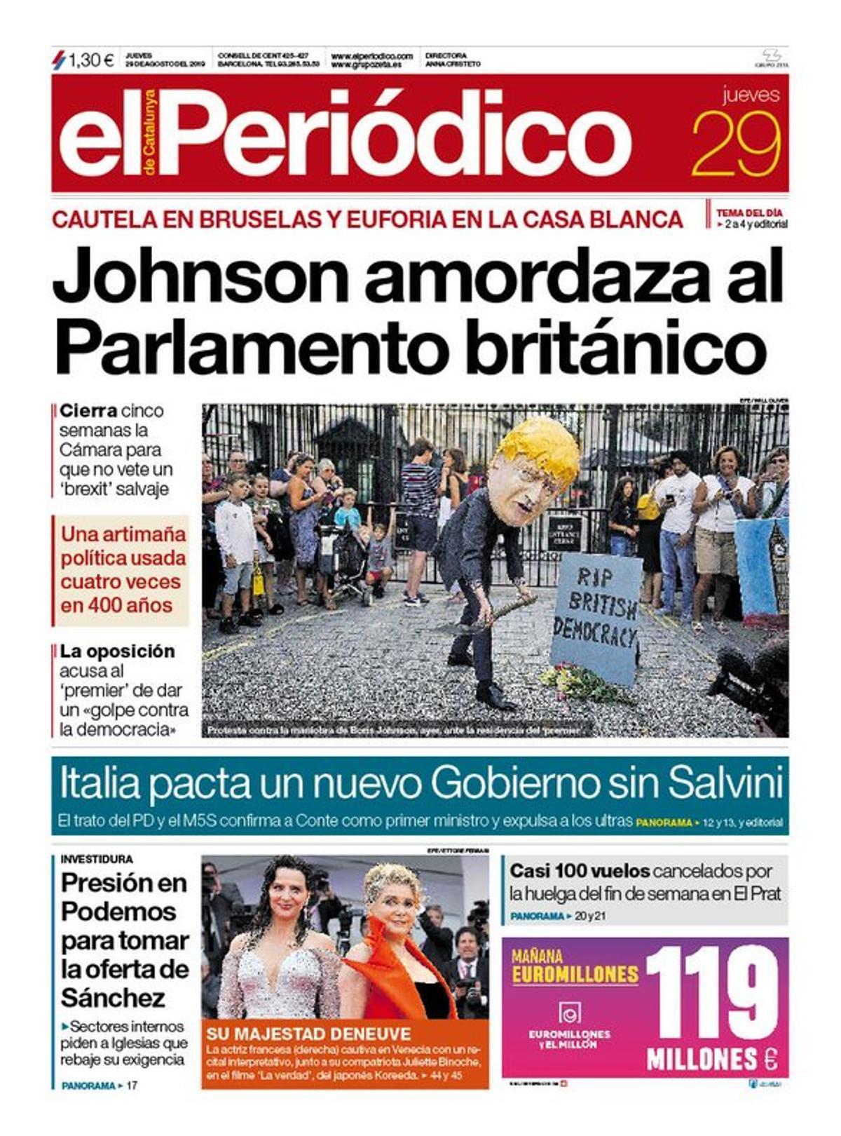 La portada de EL PERIÓDICO del 29 de agosto del 2019