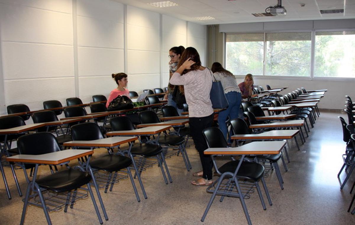 Un aula de la facultad de Ciencias Políticas de la UAB, este martes.