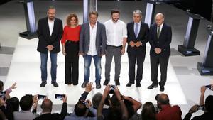 Los candidatos catalanes, en el plató, momentos antes de iniciar el debate electoral de TV-3.