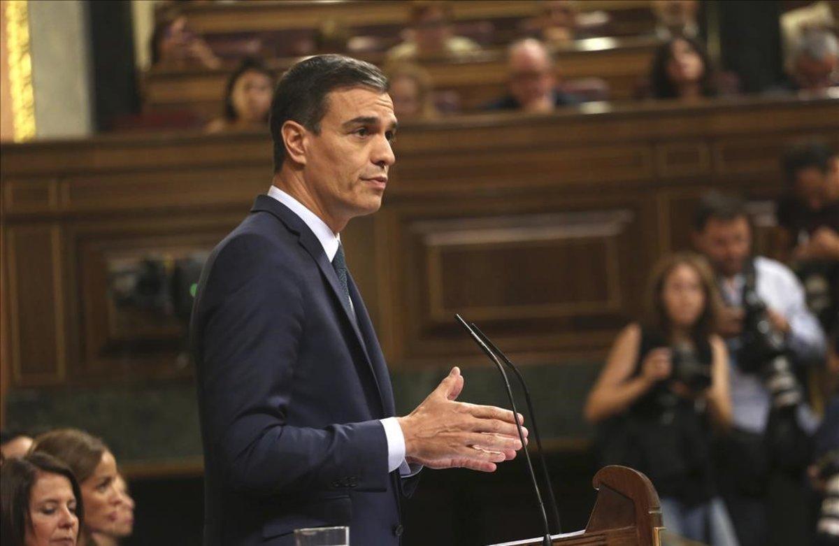 Pedro Sánchez, en la última jornada de la investidura.