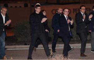 Los 'exconsellers' Raül Romeva, Carles Mundó, Jordi Turull y Josep Rull salen de la prisión de Estremera