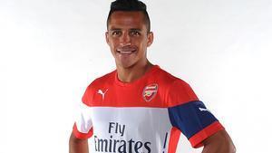 Alexis Sánchez, con la camiseta del Arsenal.